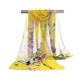 Wholesale silk flower scarf big - Factory Cheap Woman Scarf Silk Brand Luxury Print Flower Ladies Chiffon Scrawl Big Flower Printed Wrap Scarf Beach Cover Sarog160*50cm