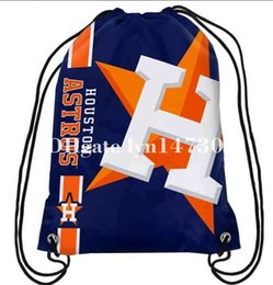 Wholesale Backpack Logos - 35x45 knitted polyester sports fan Houston Astros big logo side stripe drawstring backpack bag with metal Grommets
