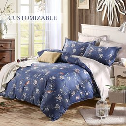 Wholesale Blue Floral Sheet Sets - bed linings Home Dark blue four sets Bed sheets Quilt sets pillow case Floral cotton sheets Warm bed sets Home Textiles
