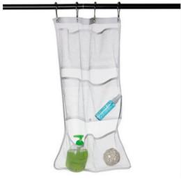 Wholesale Bathroom Shower Tubs - New 6 Pocket Bathroom Tub Shower Bath Hanging Mesh Organizer Caddy Storage Bag Hook Bath Supplies Bathroom Accessories 63*36cm 464