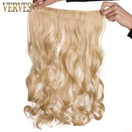 Wholesale Long One Piece Hair Extension - clip-in one piece Blonde wavy Long High Tempreture Synthetic Woman Hair Extension Hairpiece free shipping mix color