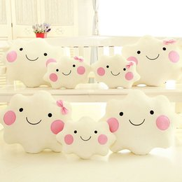 Wholesale Wholesale Body Pillows - Wholesale- Creative Cute Smile Clouds Stuffed Plush Throw Pillow Cushion Shy Girl Pink Bow Sweet Couch Decorative Pillows
