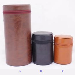 Wholesale Dslr Leather - DSLR Camera Lens Case Bag Cover Pouch Hard PU Leather with Zipper L M S Sizes 3 Colors