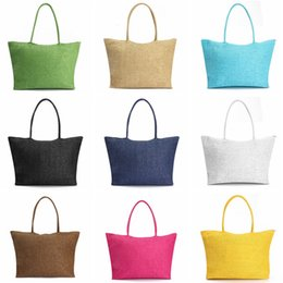 Wholesale Popular Stocks - Popular Summer Weave Woven Shoulder Big Women Messenger Straw Bag Hand Beach Tote Bags Handbag free fast shipping in stock