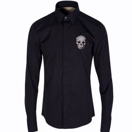 Wholesale Designs Skull Dress - Wholesale- Luxury Men Shirt Chemise Homme Fashion 3D Skull Design Mens Slim Long Sleeve Embroidery Cotton Dress Shirts Brand Camisas Hombre