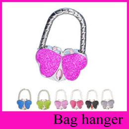 Wholesale Butterfly Hangers - 2017 8 Colors Metal Foldable Bag Purse Hook Bag Hanger Purse Hook Handbag Holder Shell Bag Folding Table butterfly bling colors