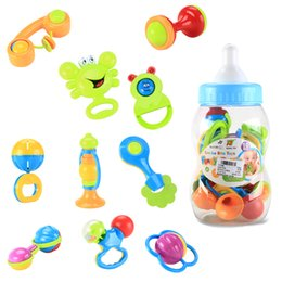 Wholesale Teether Rattle Set - Wholesale- 10Pcs set Baby safe Rattles Infant mobiles musical Hand Shake Bell Ring Toy Teether Product Educational Christening Gift