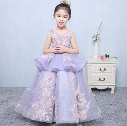 Wholesale Handmade Embroider Flower Dress - Girls Pageant Dresses 2017 Ball Gowns falbala gauze embroidery Designer Child Glitz Pageant Ball Gowns with Handmade Flowers T4817
