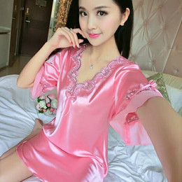 Wholesale Summer Female Pajamas - Xian ze devoted female nightgown short-sleeved summer pajamas sexy lace princess han edition thin summer ice silk loose big yards