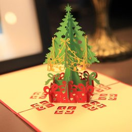 Wholesale Wholesale Green Greeting Cards - Merry Christmas Tree 3D Card Laser Cut Paper Christmas Greeting Cards Christmas Gifts