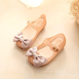 Wholesale Latex Hot Girls - Mini Melissa 2017 Hot Sale Cloth Bow Baby Summer Jelly Children Toddler Kids Shoes Zapatos Girl Sandals 14-17cm