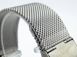 Wholesale Mesh Bracelet 22mm - Hot sale Settee high-grade stainless-steel 304 nice mesh watch band Milan 0.6 weight 18mm 20mm 22mm 24mm silver color