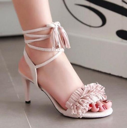 Wholesale Ladies Black Strappy Sandals - 2017 women Brand design Lady High Heels Sandal sexy Tassel Women gladiator Sandal strappy Open Toe Summer Dress Party shoes