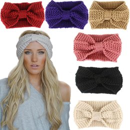 Wholesale Crochet Head Wrap Wholesale - 2017 Bow Knit Hairband 14 color Women Lady Crochet Headband 20*12cm Winter Wrap Ear Warmer Head Band Hair Accessories WX-H17