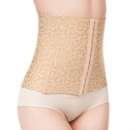 Wholesale Wholesale Stomach Girdle Waist - Wholesale- Girdles Body Shapers For Women Stomach Wrap Leopard Waist Trainer Corsets Belt Slimming Tummy Black and Beige Firm Body Shaper