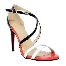 Wholesale Womens Elegant Heels - Zandina Womens Fashion Handmade Patchwork Leather Crosscriss Buckle Strap High Heel Sandals Black Elegant Shoes XD068