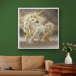 Wholesale Horse Canvases - YGS-594 DIY 5D Partial Diamond Embroider The horse Round Diamond Painting Cross Stitch Kits Diamond Mosaic Home Decor