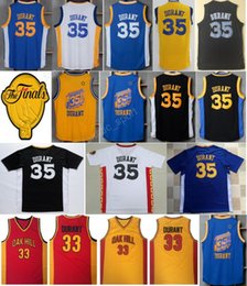 Wholesale Vintage Patches - 2017 Final Patch Vintage 35 Kevin Durant Basketball Jerseys Cheap Chinese Kevin Durant Jersey 33 High School Oak Hill Blue White Black