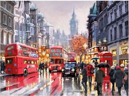 Wholesale Raining Wall Painting - DIY Oil Painting By Numbers Frameless Paint On Canvas Wall Pictures For Living Room Wall Art Home Decor Rain Shopping Street