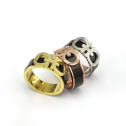 Wholesale Gold D Ring - High Quality 316L Stainless Steel Fashion Men's Ring Black D Rings for Men and Women of Double D Gold Plated Ring Femme Jewelry