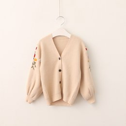 Wholesale Machine Embroidery Clothes - Baby Girls Knit Flower Cardigans Kids Girls Embroidery Floral Outwear Babies Fashion V-neck Sweater 2017 kids clothing