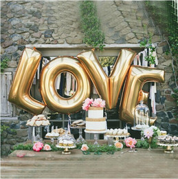 Wholesale Letters Balloons Foil - 40-inch Alphanumeric Balloon Wholesale 2018 New Golden Letter Balloon Party Decorate Large Foil Balloon Free Shipping