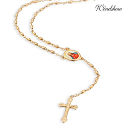 Wholesale Gold Chain Link Costume Necklace - Wholesale-Yellow Gold Plated Oval Bead Chain Strand Jesus Link Cross Beads Pendant Long Necklace Costume Dress Jewelry For Women