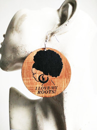 Wholesale I Earrings - free shipping I LOVE MY ROOTS girl locs hair wood earring