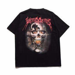 Wholesale Metal Cotton - 2017 Vetements Oversized Heavy Metal Back Side Skull Print Korea Pop Up Oversize Short Sleeve Men Cotton T-shirt Tee