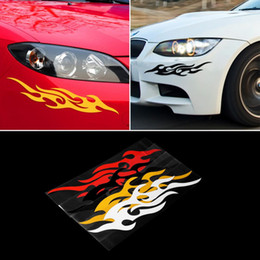 Wholesale Motorcycle Murals Decals - 2pcs Universal Car Sticker Styling Engine Hood Motorcycle Decal Decor Mural Vinyl Covers Accessories Auto Flame Fire &