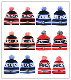 Wholesale Yellow Knit Ski Hat - Newest Fashion Sydney Roosters NRL Team Winter Beanies Hats Blue for Men Women Ski Snow Pom Knit Beanies Caps Hot Sale DDMY