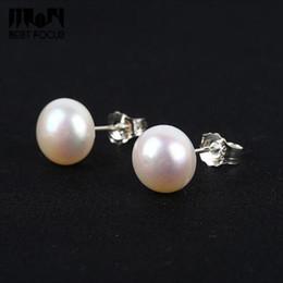 Wholesale Earring Freshwater Pearl - MLJY Genuine Pearl Earring 925 Sterling Silver Stud Earrings Pearl Jewelry Natural Freshwater Pearl Earrings For Women Jewelry 10 pcs lot