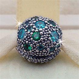 S925 estrellas cósmicas de plata esterlina con color verde azulado CZ clip del encanto del grano adapta europea Pandora joyería pulseras collares colgantes desde fabricantes