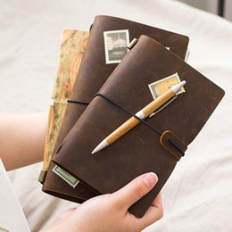 Wholesale Buying Wholesale Accessory - Wholesale- 100% Genuine Leather Traveler's Notebook Diary Journal Vintage Handmade Cowhide gift travel notebook BUY 1 Get 5 Accessories