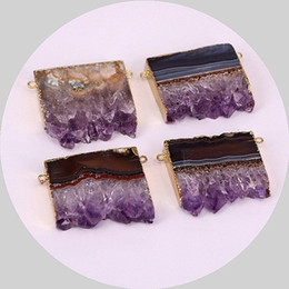 Wholesale Gold Plated Connector Charms - Amethyst Slice Double Bail Pendant with Gold Electroplated Amethyst Druzy Quartz Stone Pendant Connector Charm Amethyst Jewelry (PI0F2_1)