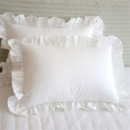 Wholesale Ruffle Pillow Case - 2pcs Solid White Edge Ruffled Soft 100% Cotton Pillow Case Pillow Cover Bedding Pillowcases Home Hotel