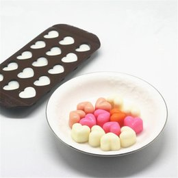 Wholesale Chocolate Decoration Moulds - 1 pc 15 Holes Heart Shape Chocolate Mold DIY Silicone Cake Decoration Mold sugar Jelly Ice Mold Love Gift Chocolate Molds