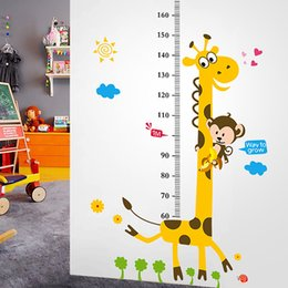 Wholesale Height Stickers - Wall Stickers for Kids Rooms Cartoon Giraffe Animals Pvc Wall Stickers Eco Kindergarten Kids Bedroom Height Chart Wall Decals