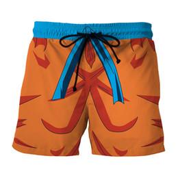 Wholesale Dragon Ball Z Cell - Dragon Ball Z Naruto Men's Summer Casual Shorts Super Saiyan Son Goku Vegeta Cell Piccolo Dragonball 3D Print Beach Shorts