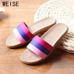 Wholesale Rainbows Flip Flops - Wholesale-High Quality Summer Linen Home Slippers Rainbow Colors Flax Slippers 2016 New Unisex Women Men Slippers Home Shoes Size 35-45