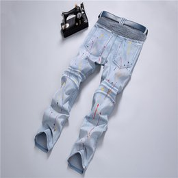 Wholesale Jeans Spray Man - 2017 New Arrivals Tattered Spray Paint Patchwork Ripped Jeans Fashion Slim Fit Distressed Jeans Light blue Denim Pants JS-008