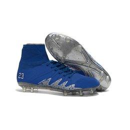 Wholesale Silver Soccer Football Boot - Cheap Hypervenom Phantom 2 Neymar x Air JR Blue Silver Metallic Soccer Cleats Size 6.5 2017 Neymar JR Soccer Shoes Football Boots