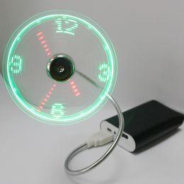 Wholesale Originality Clock - USB intelligent clock, small fan, LED luminous originality, mini fan, student office, computer fan,gift