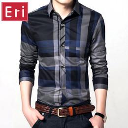 Wholesale Mens Designer Shirts Wholesale - Wholesale- Shirts Plaid New Fashion Contrast Color Collar Shirts Mens Long Sleeve Slim Fit High Quality Men's Designer Shirts Clothes X044