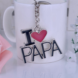 Wholesale I Love Keyrings - I Love MOM MAMA I Love PAPA DAD Metal Alloy Keychain Key Chain Keyring Car Keychains Handbags Pendant Mother's Day Father's Day Gift