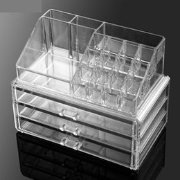 Wholesale Pink Storage Drawers - Acrylic Clear Cosmetic Bags Makeup Organizer Jewelry Display Boxes Storage Case Drawers Cosmetic Box Desktop combination lipstick pencil #04