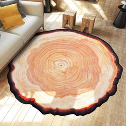 Wholesale Quality Wood Doors - High Quality Round Carpet Ancient Tree Ring Mat Parlor Door Floor Rug Living Room Sofa Table Area Rugs Wood Color JI0201