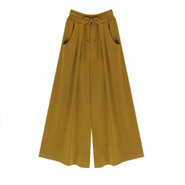 Wholesale Wide Leg Plus Size Capris - Summer Women Wide Leg Harem Palazzo Pants Bell Bottom Flare Trousers Loose Mid Waist Cotton Ankle-Length Drawstring Casual Pants