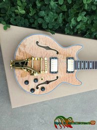 Wholesale 335 Natural - Natural Wave Custom Shop 335 Hollow Jazz Guitar with Golden Tremolo New Arrival China Guitars HOT