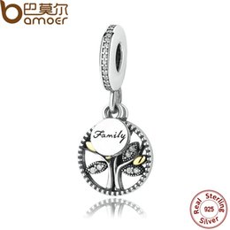 Wholesale Clear Lockets Charms - Sterling Silver FAMILY TREE Pendant Charm for Pandora style Bracelet and Necklace DANGLE AND CLEAR CUBIC ZIRCONIA CHARM